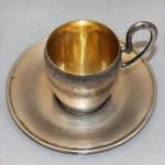 чайная пара серебро чашка с блюдцем