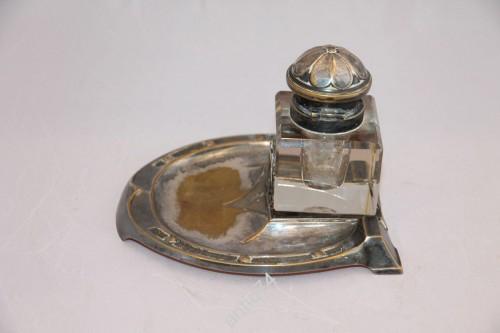 Чернильница, серебрение, хрусталь. Модерн