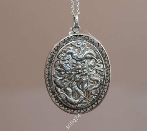 Медальон с драконами. Серебро, 925 проба. Китай