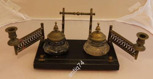 чернильный прибор с подсвечниками, бронза, мрамор