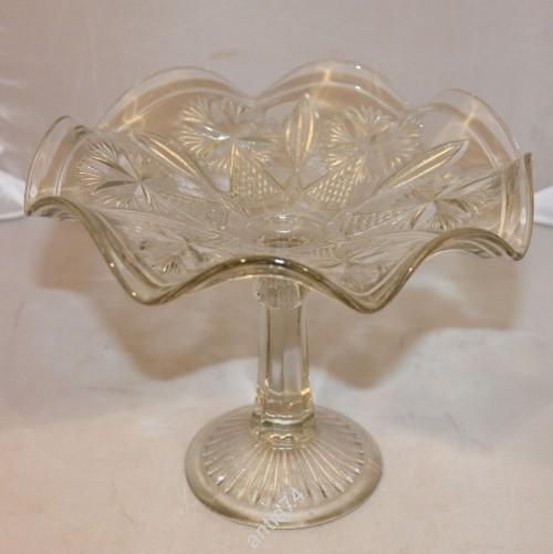 Красивая ваза, конфетница. Стекло, 30-50-е годы