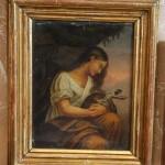 Девушка (Мария) с Распятием. Старая картина в старой раме