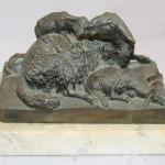Русская кабинетная бронза. Овца с ягнятами. Лансере