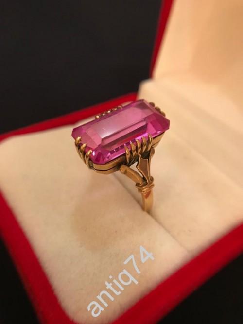 Кольцо с большим прямоугольным камнем. 21й размер! Золото, 583 проба. СССР