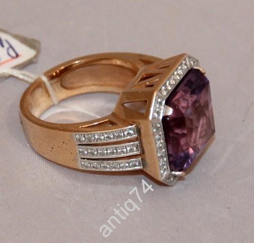 Мужской перстень с огромным аметистом. Золото
