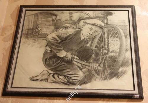 """Сергей Бондар Серия """"Партизаны"""" Мальчик с велосипедом и фашист"""