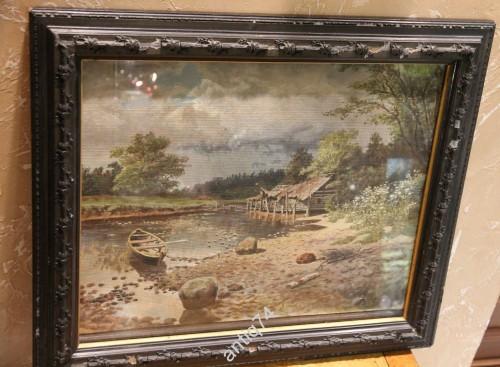 Пейзаж с лодкой. Дореволюционная копия в старой раме.