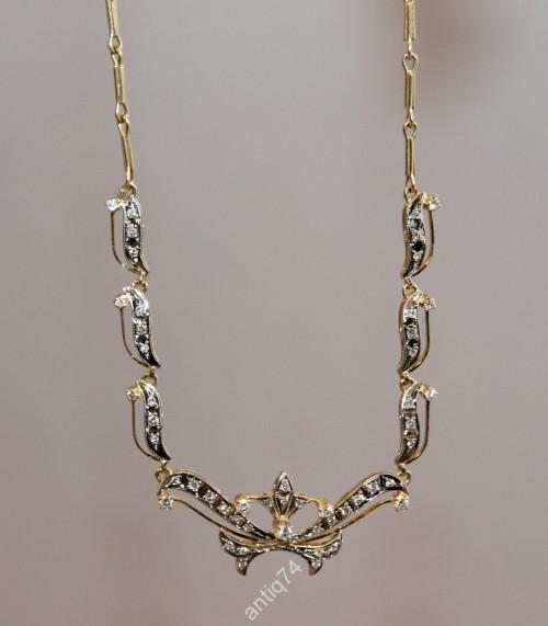 Колье, ожерелье. Золото 750 проба, бриллианты на 0,63 карата