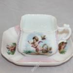 Редкая квадратная чайная пара Кузнецова с редким клеймом к парижской выставке