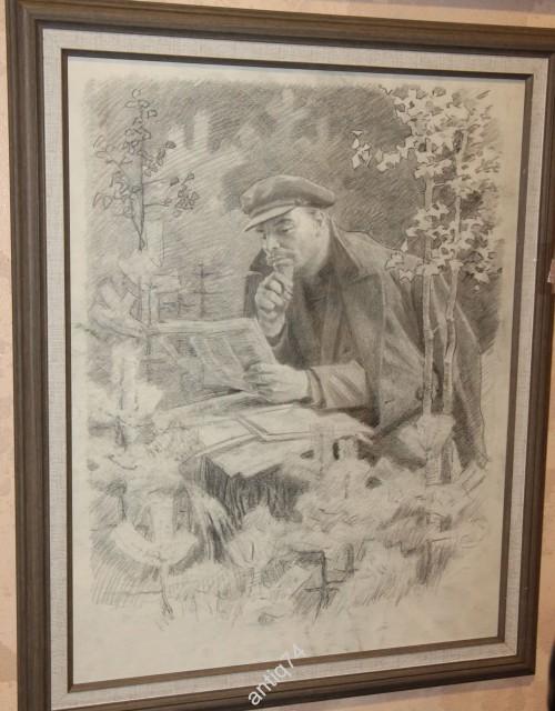 Сергей Бондар. Ленин за чтением газет. 1950-е годы