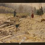 Литография большая. Промывка золота старателями. Издание В.В.Думнова. Москва