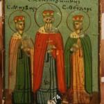 икона - миниатюра. Святые Михаил, Константин, Федор
