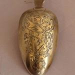 Красивая столовая ложка, резьба, золочение. 1839 год Серебро, 84 проба