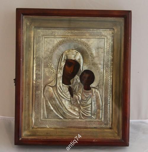 Икона Богоматерь Казанская. Серебро, 84 проба. Киот. 1896 год