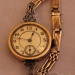Наручные дореволюционные часы. Золото, 56 проба. Бриллианты