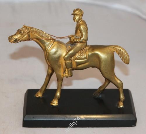 Жокей, наездник, лошадь, конь. Бронза, золочение. Старая