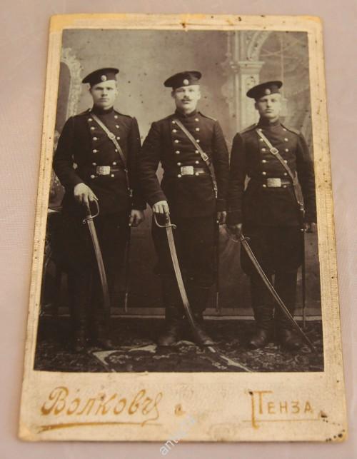 Фото. Три бравых солдата с шашками, саблями. Пенза