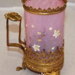 Подсвечник в виде вазы, стакана. Латунь, цветное стекло с эмалью. Европа