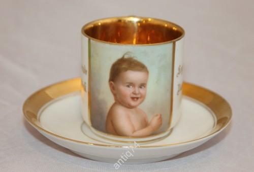 Кофейная, чайная пара с портретом ребенка. Полностью ручная роспись