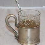 Подстаканник с ложкой и старым стеклянным стаканом. Серебро, 84 пр