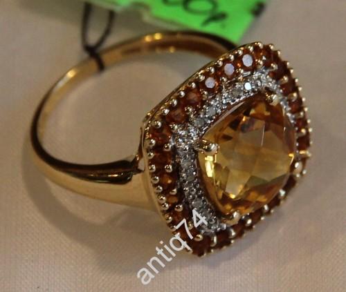 Кольцо с цитрином и бриллиантами. 585 пр