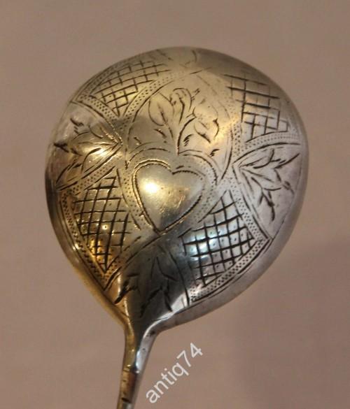 Ложка десертная, для меда, варенья. Проросшее сердце, аллегория. Серебро, 84пр