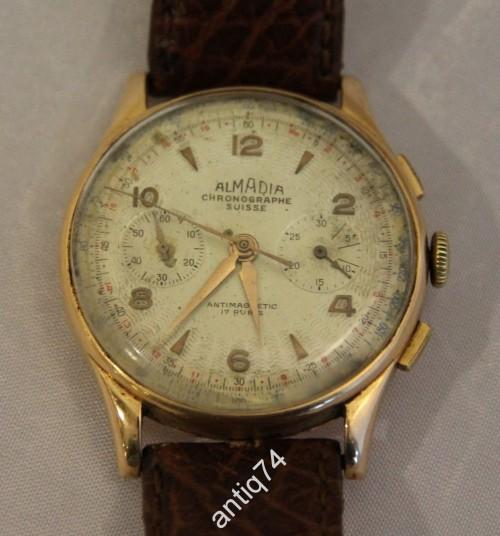 Золотые часы -хронограф. Швейцария. Almadia. 750 проба. На ходу.