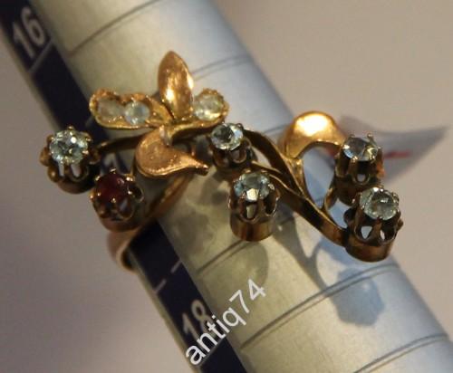 Кольцо- цветок. Топазы, бриллианты, гранат. Золото, 56 проба