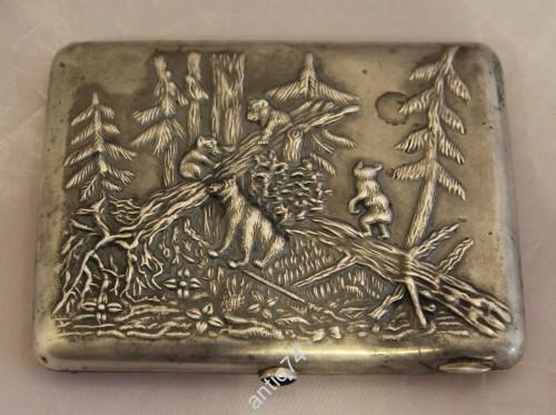 Портсигар Медведи в лесу. Серебро, 84 проба