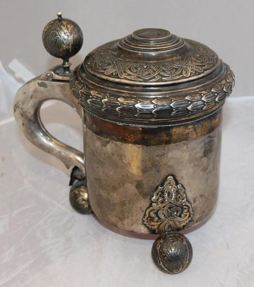 Огромная старая пивная кружка. Швеция. Серебро