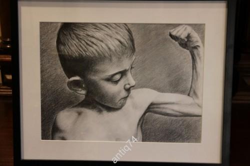 Сила! Мальчик с бицухой. Силач. Графика. Карандаш
