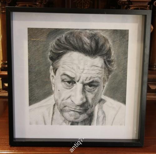 Роберт де Ниро. портрет, графика. В глубокой раме. интерьер.