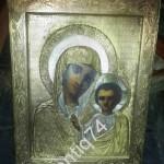 икона Богоматерь Казанская. Красивый оклад. Абросимовъ. Очень чёткое клеймо