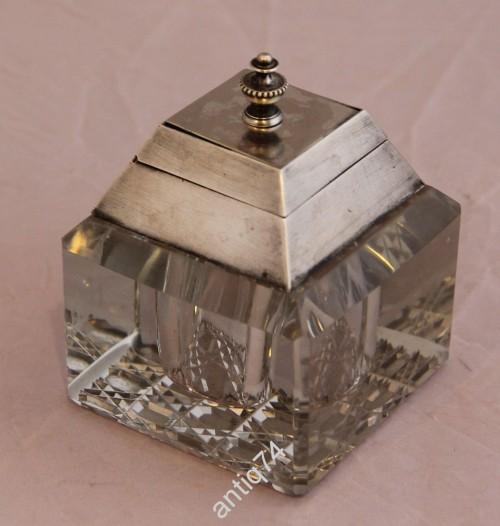 Чернильница. Хрусталь, стекло, серебро, 84 проба