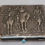 Портсигар три богатыря. серебро, 875 пр