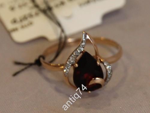 Кольцо с бриллиантами и гранатом. р-р 17,5 Золото 585пр
