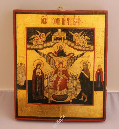 Икона София премудрость божия. Золото, киот