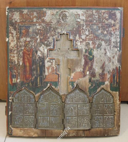 Большая икона Распятие с предстоящими, с врезным складнем. Невьянск