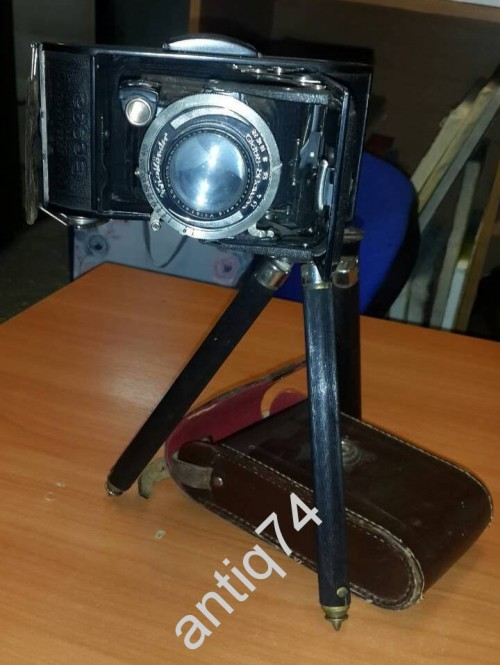 Старый немецкий фотоаппарат Voigtlander на родном огромном штативе + футляр
