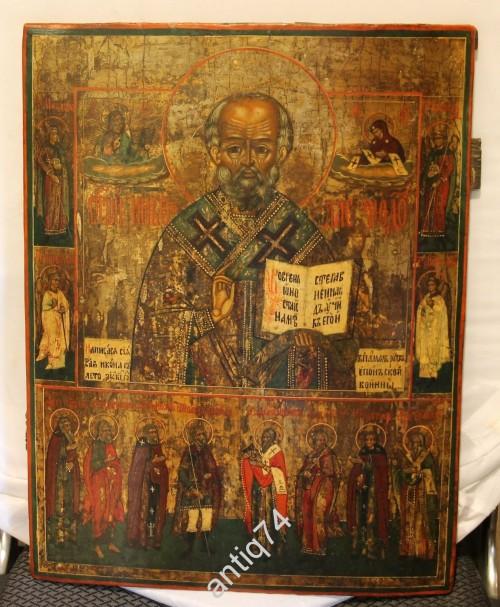 икона Николай Чудотворец датированная, подписная. В память Русско-Японской войны. 45 на 36 см!