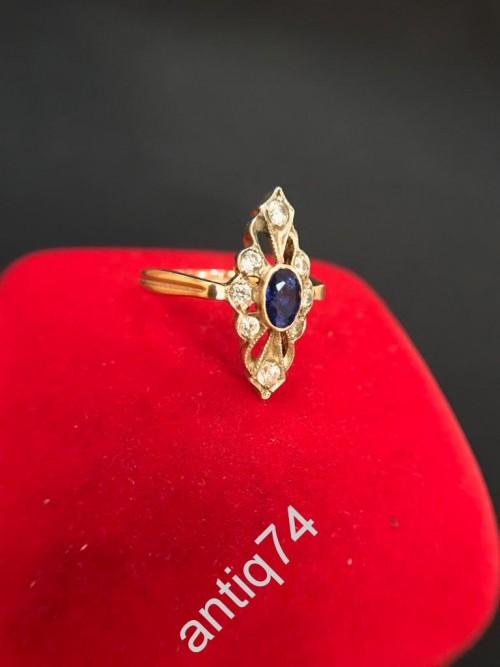 Кольцо с сапфиром и бриллиантами. 585 проба