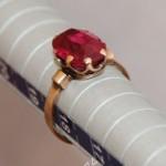 Кольцо с красным камнем, золото 500 проба. СССР