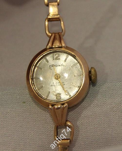 Часы женские, золото +золотой браслет. 583 проба со звездой