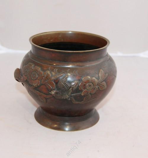Бронзовый, медный горшок, ваза с птицей. Япония