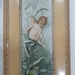 Фарфоровый пласт, картина. Ангелочек и лягушка