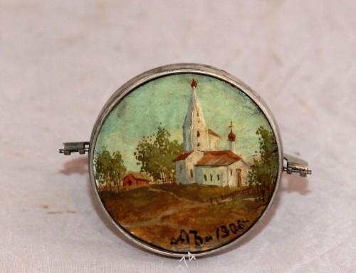 Миниатюра в серебре, 84 проба. 1906 год. Церковь, храм. Живопись, масло