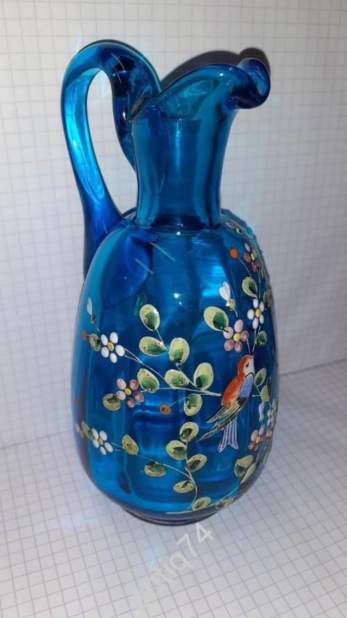 Миниатюрный кувшин с росписью эмалью. Цветное стекло, до 1917 г