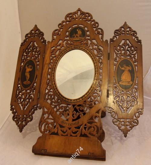 Настольное зеркало. Дерево, маркетри, резьба. Сорренто. Италия? 19 век.