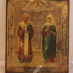 икона Святой Иоанн и Александра. Золото, резьба по левкасу. Аналой