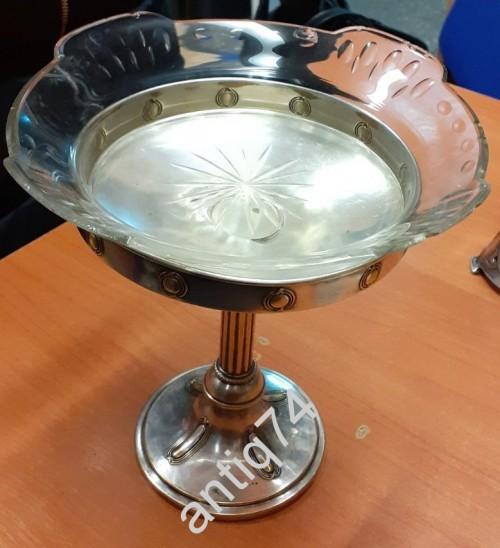 Красивая ваза, конфетница с родным стеклом. Серебрение
